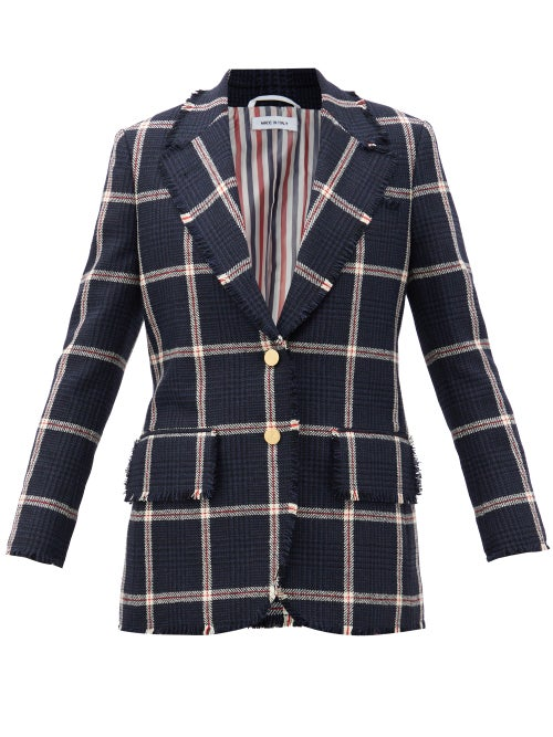 Thom Browne - Single-breasted Fringed Check Wool-tweed Jacket - Womens - Navy Multi