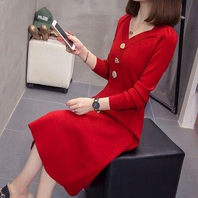 新品▶大尺碼洋裝 連身裙 8222#實拍大碼女裝胖MM能穿到200斤時尚修身顯瘦毛衣連身裙秋冬NC21-A 韓依紡