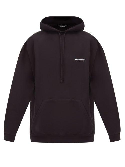 Balenciaga - Logo-embroidered Cotton-jersey Hooded Sweatshirt - Mens - Black