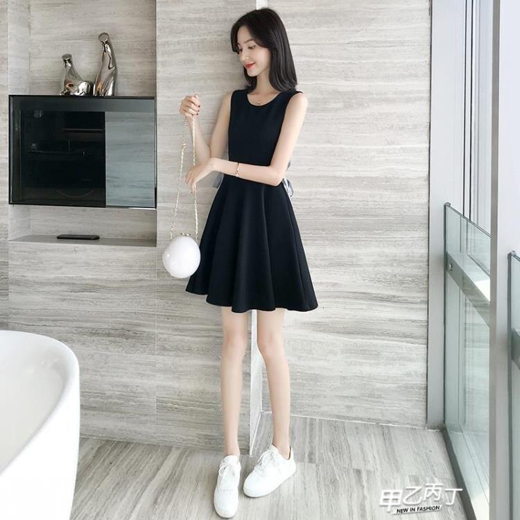 無袖洋裝 小心機復古修身顯瘦小黑裙背心裙女夏季正韓小清新系帶無袖連身裙