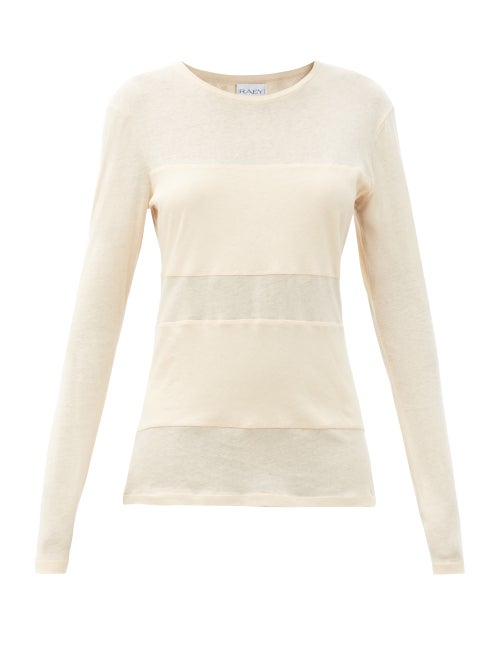 Raey - Double-panel Long-sleeved Cotton-blend T-shirt - Womens - Pale Pink