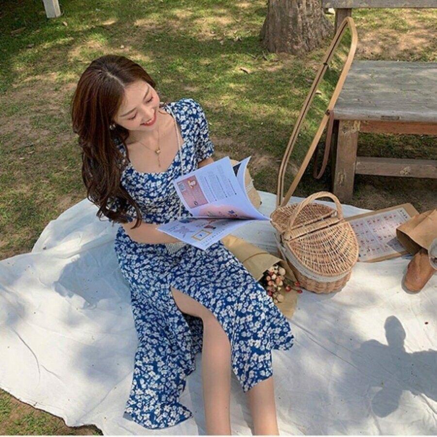 漂亮小媽咪 韓系 公主袖 加大尺碼 L碼 洋裝 【D5523】 碎花小洋裝 純色 泡泡袖 連身裙 長裙 開岔 長洋裝 []