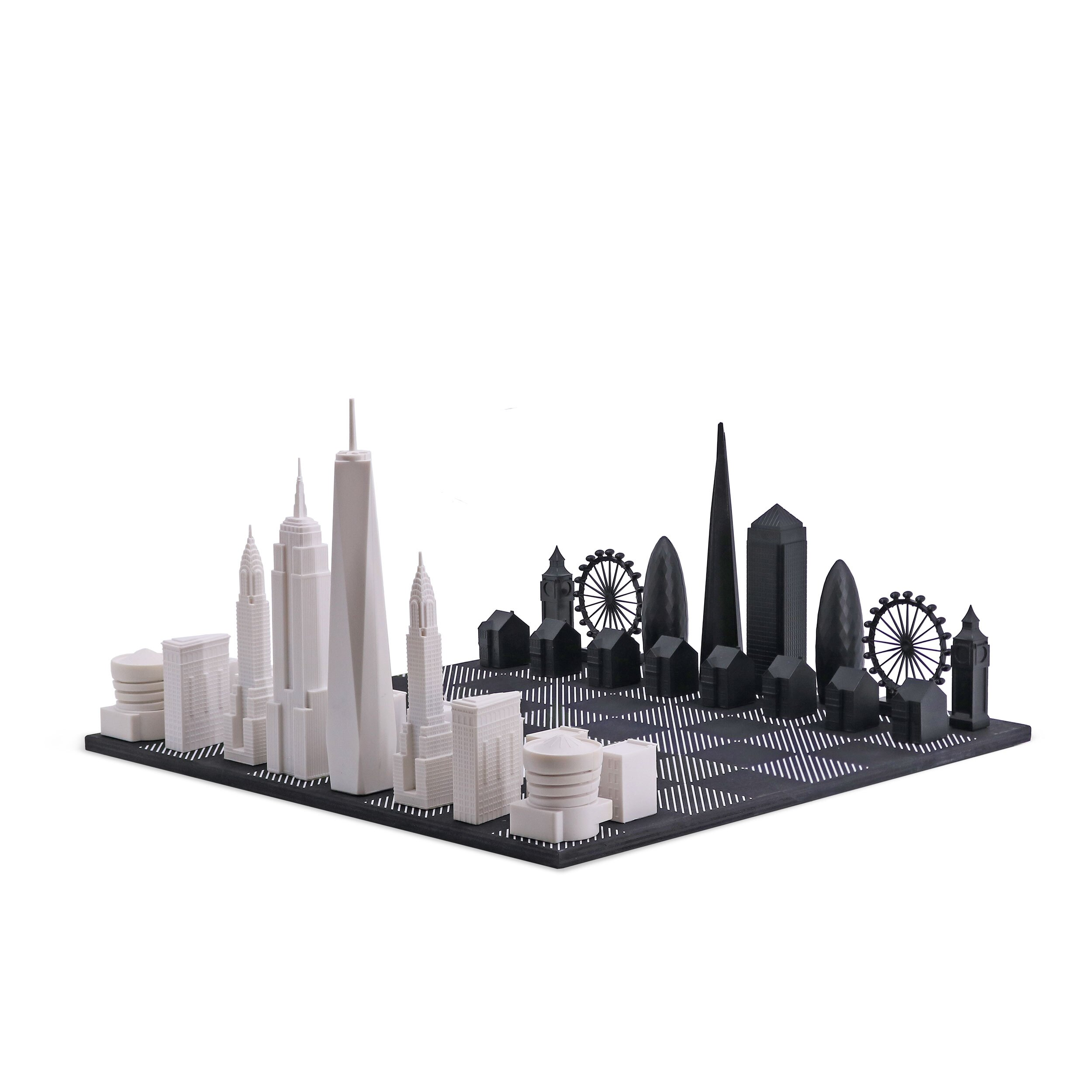 Skyline 天空之城地標西洋棋-甲板(木質棋盤) 倫敦 vs. 紐約