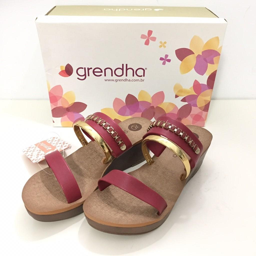 ❴特價出清❵ ** Grendha**巴西拖鞋(金屬風雙環 厚底楔型拖鞋) 酒紅色