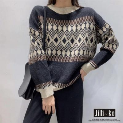 JILLI-KO 復古幾何圖紋針織毛衣- 黑色