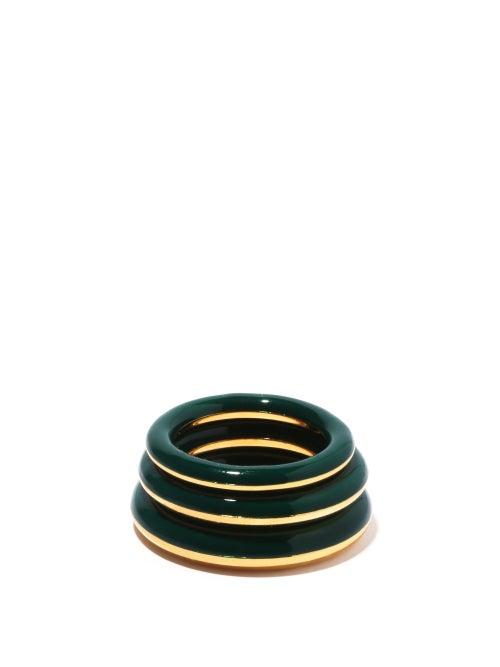 Charlotte Chesnais - Set Of Three Enamel & 18kt Gold-vermeil Rings - Womens - Green Multi