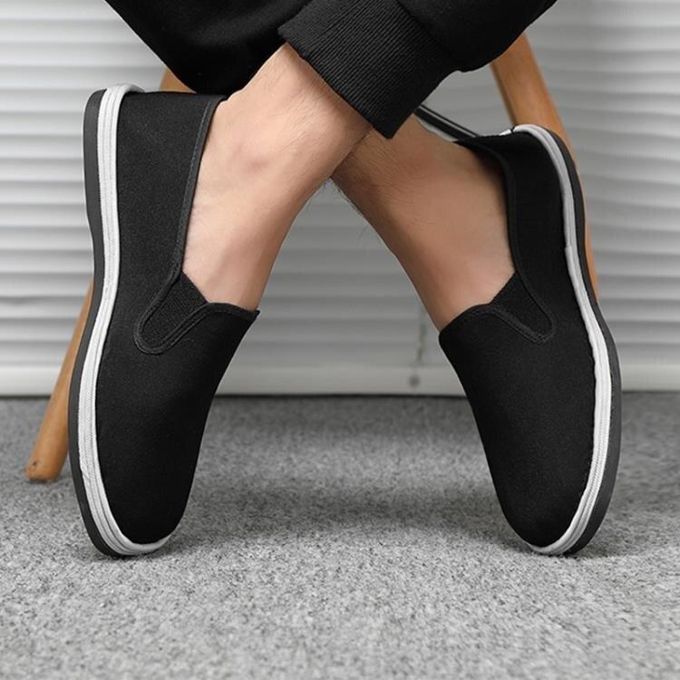 帆布鞋 老北京布鞋男士春夏季工作一腳蹬千層底帆布老年爸爸單鞋黑布鞋男 多色小屋