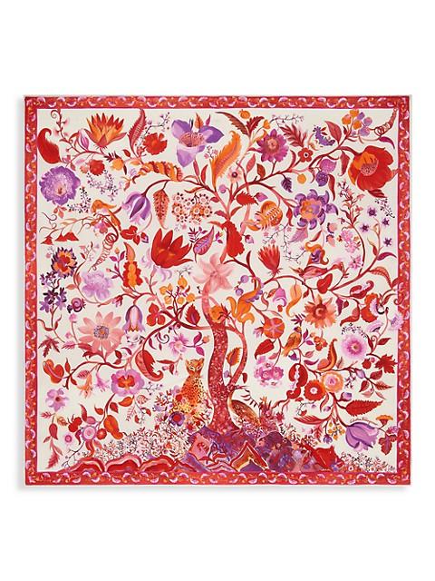 Animalier Tree of Life Printed Silk Scarf