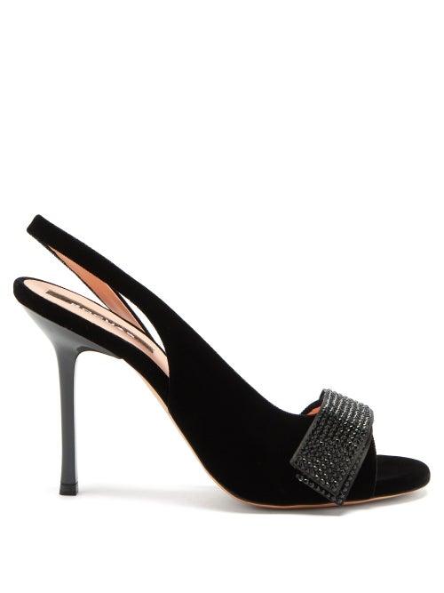Rochas - Crystal-embellished Velvet Slingback Sandals - Womens - Black