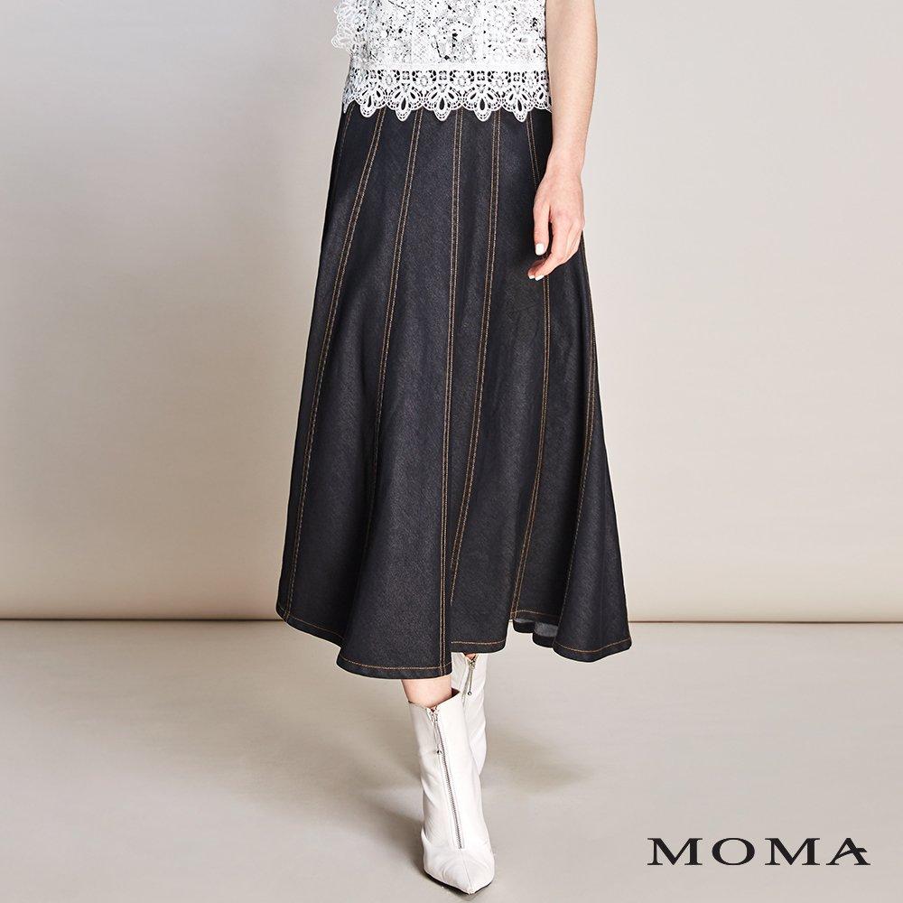 MOMA(01S019)明線設計牛仔圓裙