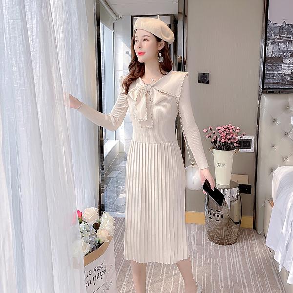VK旗艦店 韓國風針織蕾絲蝴蝶結娃娃領針織百褶長袖洋裝