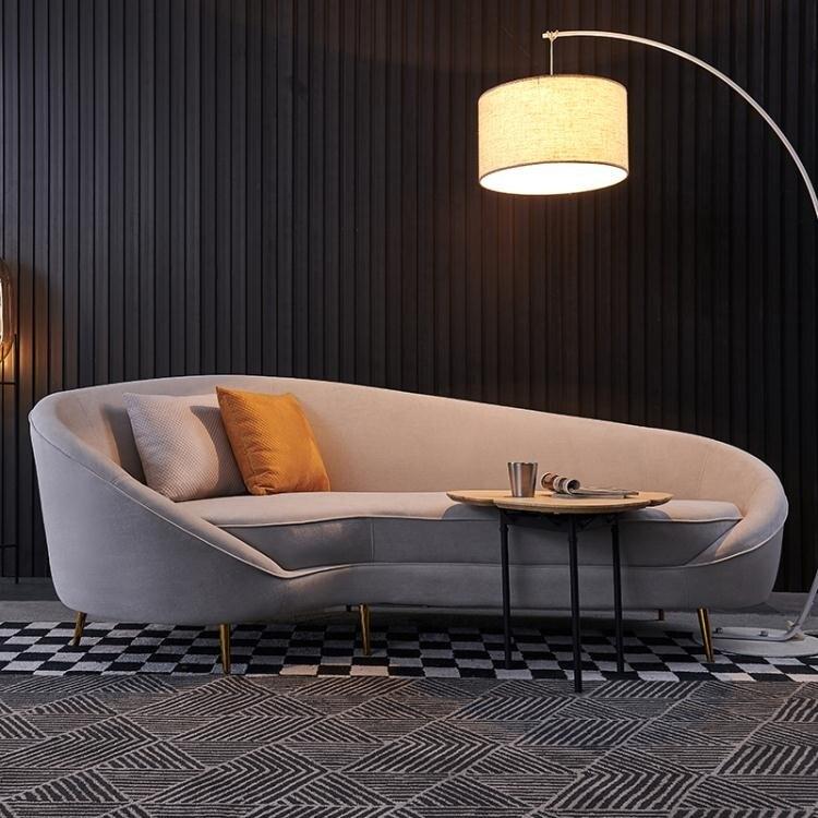 聖誕鉅惠▶沙髮 後現代輕奢布藝沙髮 簡約北歐弧形客廳組合 時尚個性港式異型傢俱