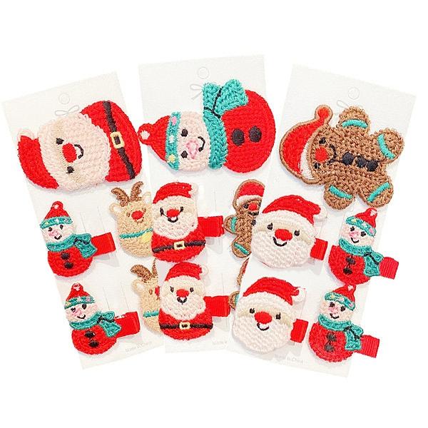 聖誕毛線編織髮夾 5入組 瀏海夾 髮夾 髮飾 兒童髮飾