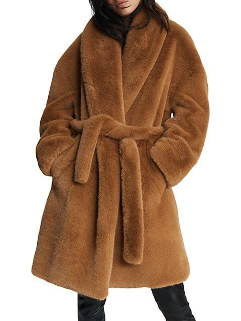 Bijou Tie Faux Fur Coat