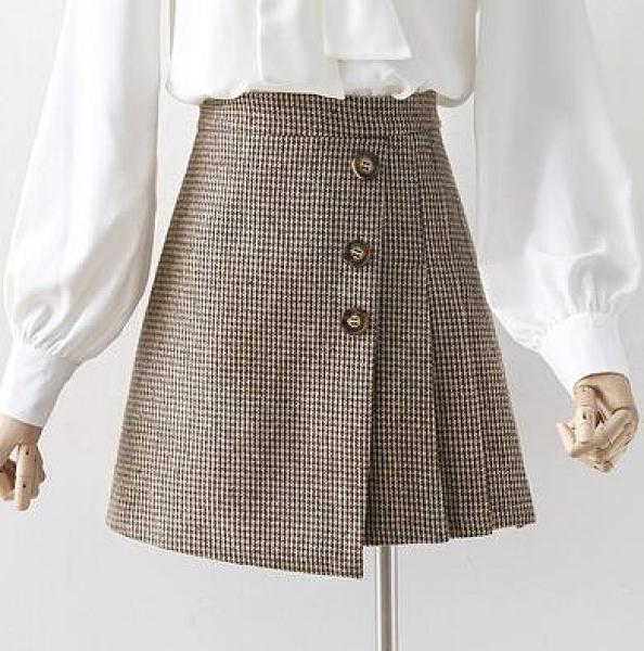 復古格子毛呢短裙秋冬女百搭咖啡色不規則百褶半身裙氣質a字裙