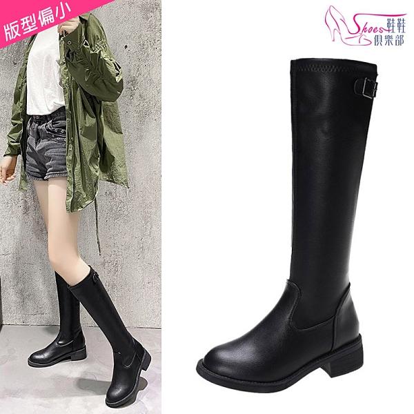 長靴.保暖顯瘦素面套腳粗跟長筒靴 騎士靴.黑色【鞋鞋俱樂部】【054-K2980】4.5cm