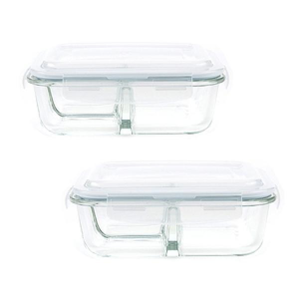 (組)微烤兩用玻璃三格保鮮盒-950mlx2