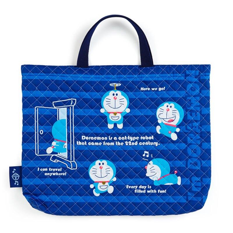 【領券折$30】小禮堂 哆啦A夢 日製 橫式厚棉手提袋 厚棉托特包 書袋 補習袋 (藍 菱格紋)