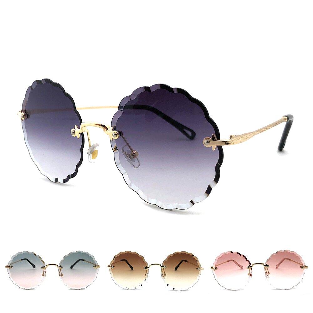 歐美系列太陽眼鏡 切邊花形漸層墨鏡 抗UV(62813)