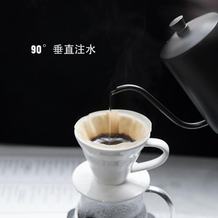 咖啡壺 304不銹鋼帶蓋特氟龍細口壺長嘴掛耳手沖壺咖啡器具