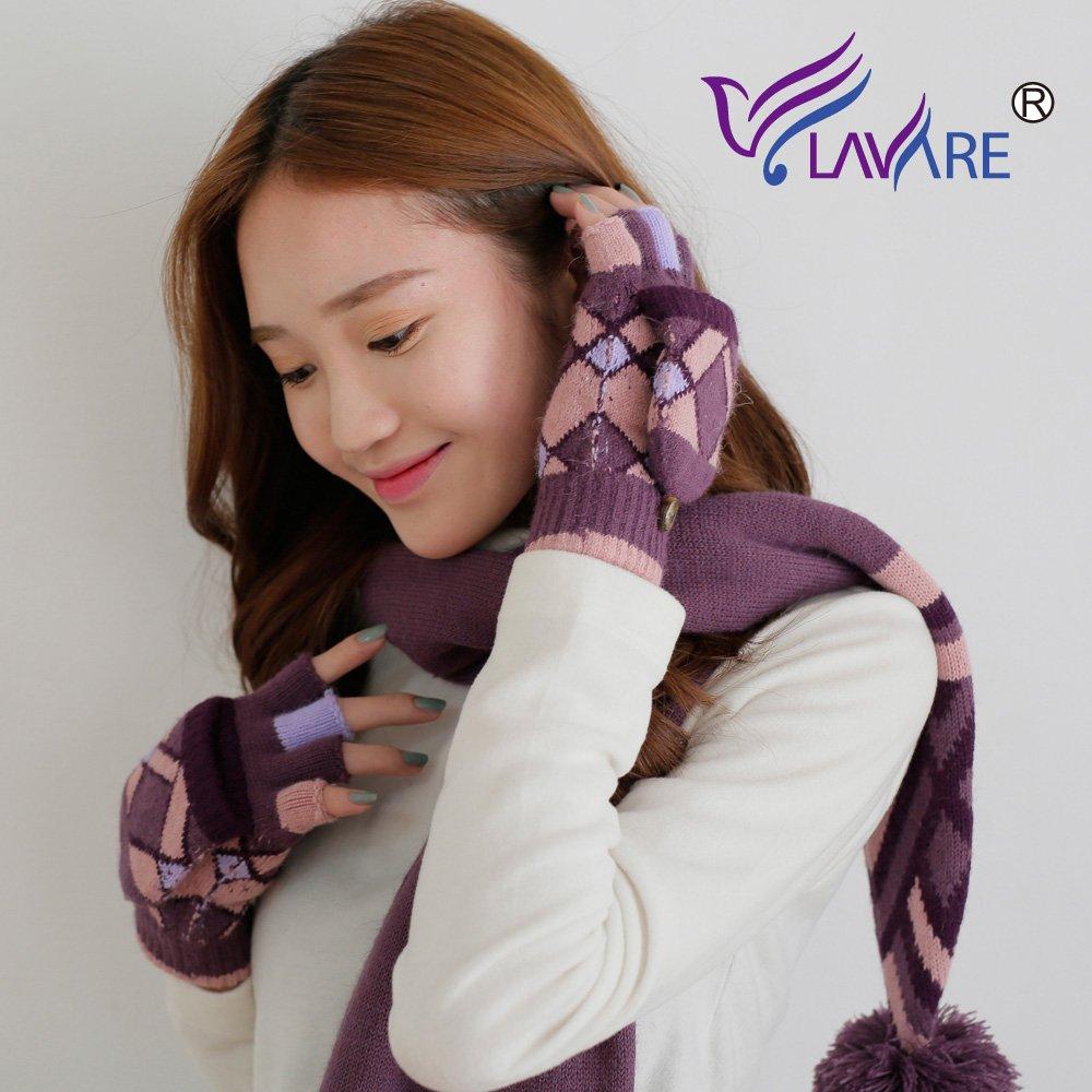 LAVARE 帽圍 幾何圖紋紫