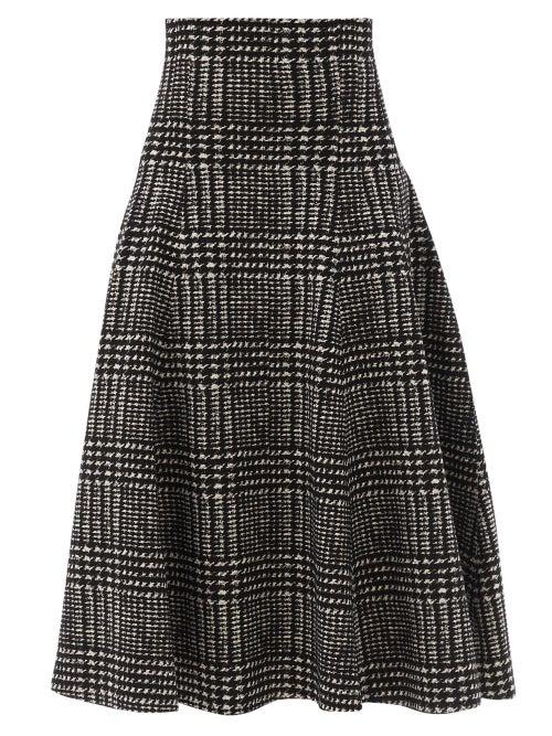 Norma Kamali - Grace Houndstooth-print Jersey Skirt - Womens - Black/white