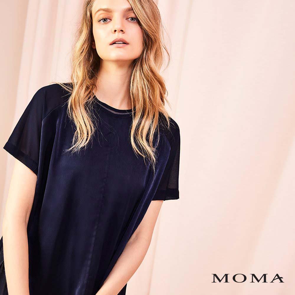 MOMA(01G050)異材質落肩透視上衣