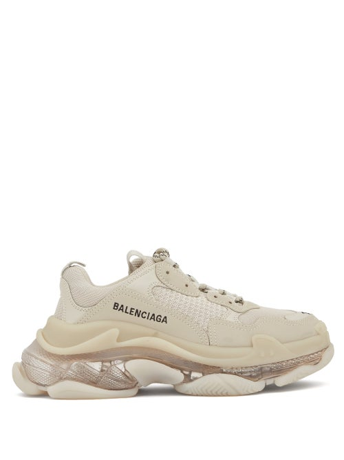 Balenciaga - Triple S Leather And Mesh Trainers - Womens - Light Beige