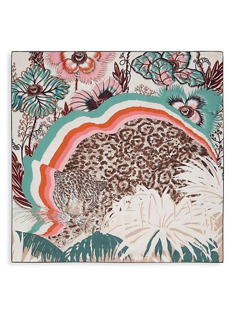 Jaguar Print Square Silk Scarf