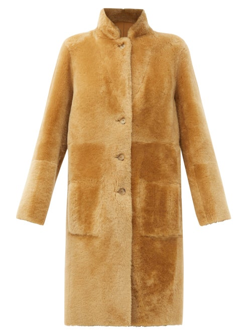 Joseph - Brittany Reversible Shearling And Leather Coat - Womens - Camel