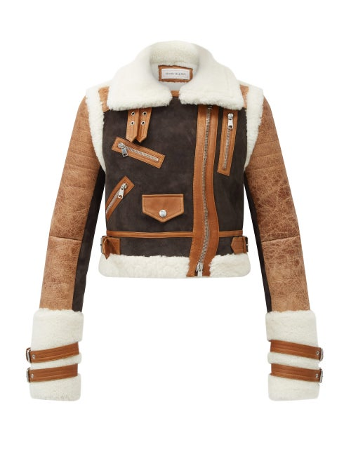 Alexander Mcqueen - Cropped Shearling Aviator Jacket - Womens - Brown Multi