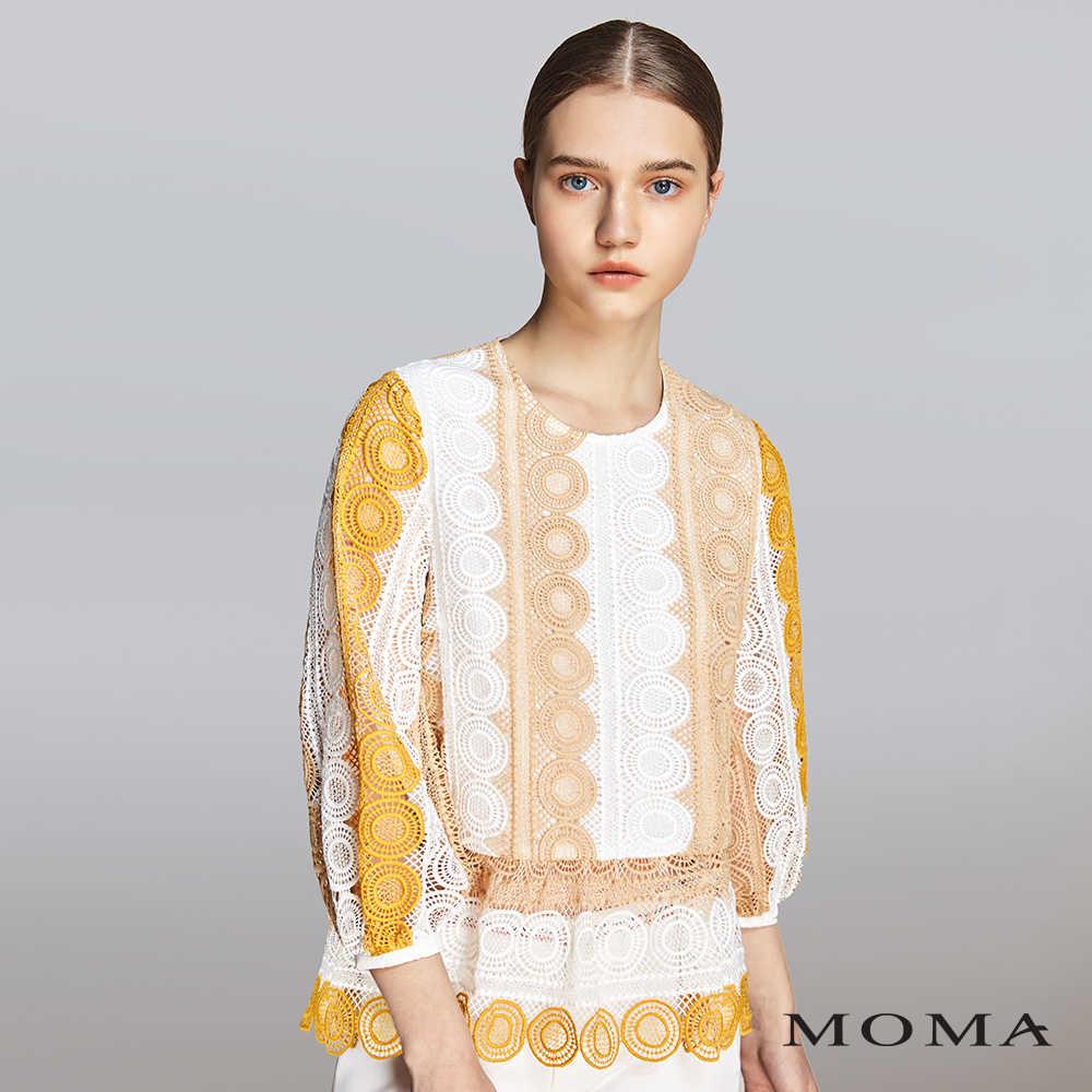 MOMA(01G011)蕾絲配色上衣