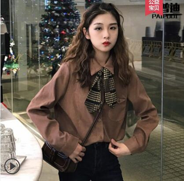 新款女小眾復古港味上衣長袖襯衫設計感初秋冬季法式輕熟港風