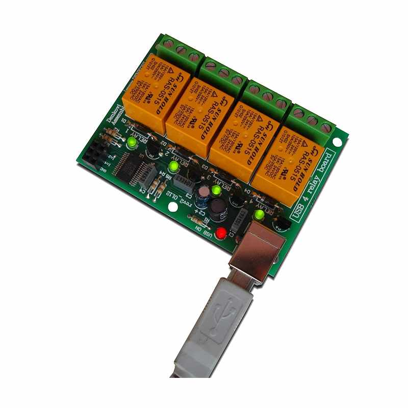 Denkovi USB 4 Channels 10A 繼電器輸出模塊 Relay Output Module,Board for Home Automation [2美國直購]