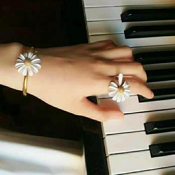 歐美KS清新小雛菊手鐲女小眾設計感戒指女日系花朵開口食指戒尾戒