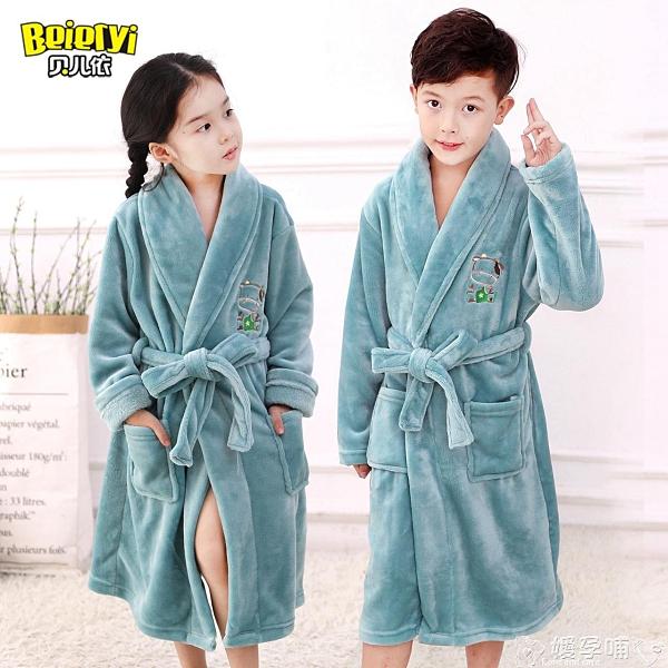 睡衣童裝冬季男孩法蘭絨兒童睡袍珊瑚加厚睡衣男童女童浴袍寶寶家居服嬡孕哺 618購物