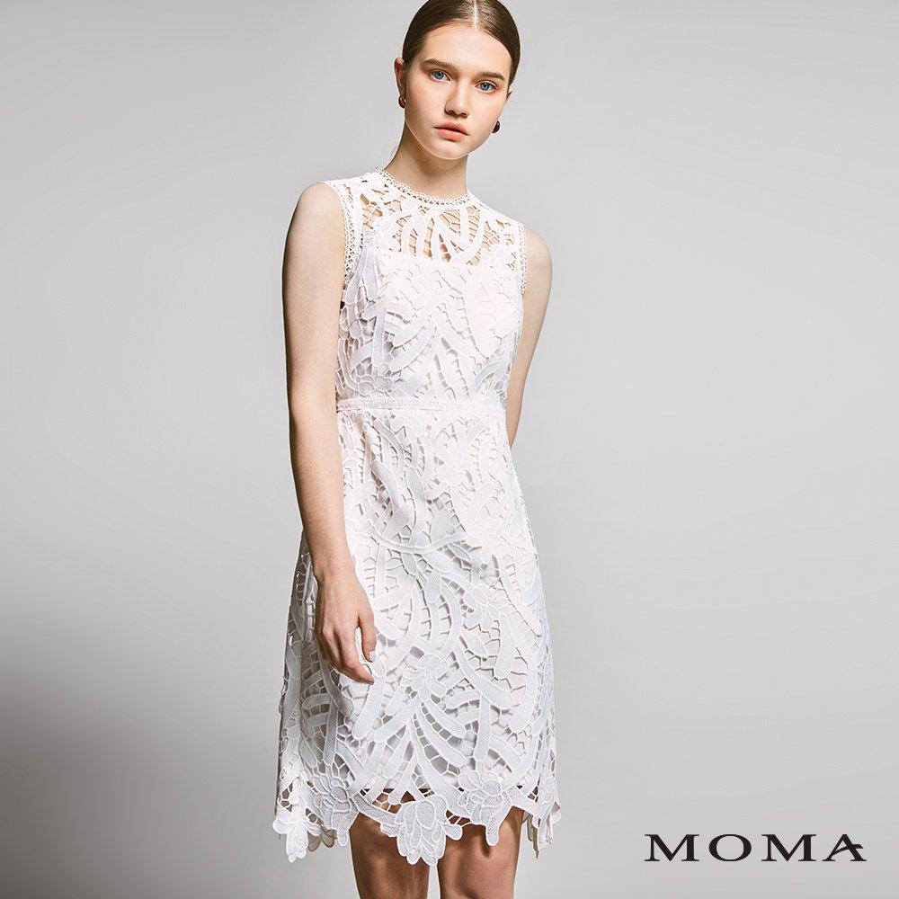 MOMA(01D024)蕾絲透視無袖洋裝