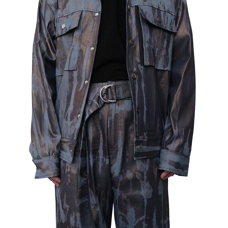 KAIKAI - Texture Playground - 斑斕紋牛仔闊腿褲
