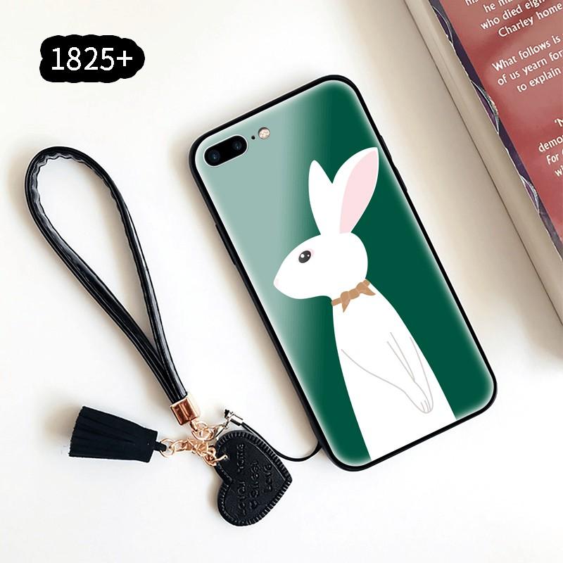 華為Y6S榮譽案例20 20s 30 Pro Lite Play3時尚硬手機殼9H鋼化玻璃後蓋卡通兔子圖案帶掛繩