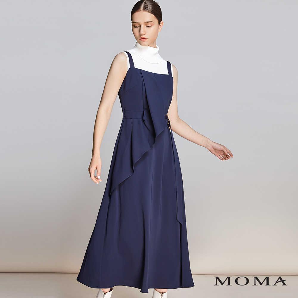 MOMA(01D015)荷葉綴飾長洋裝