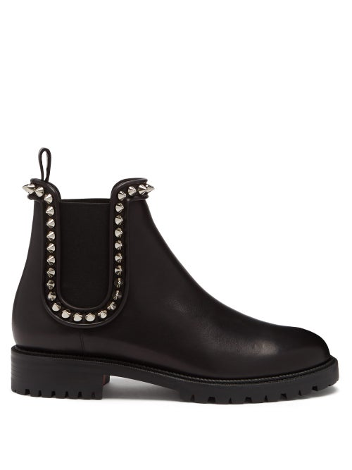 Christian Louboutin - Crapahutta Spike Leather Chelsea Boots - Womens - Black