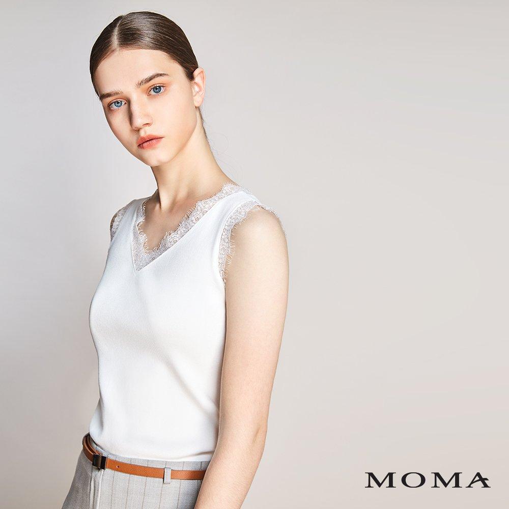 MOMA(01KM32)蕾絲飾邊無袖上衣