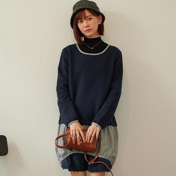 【慢。生活】日系厚棉拼接寬版連衣裙 M/L 藍色