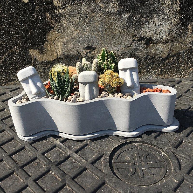 | 摩艾島嶼 | 迷你仙人掌造景DIY |不含植栽與土壤