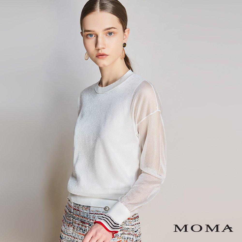 MOMA(01KM11)荷葉袖口透視上衣