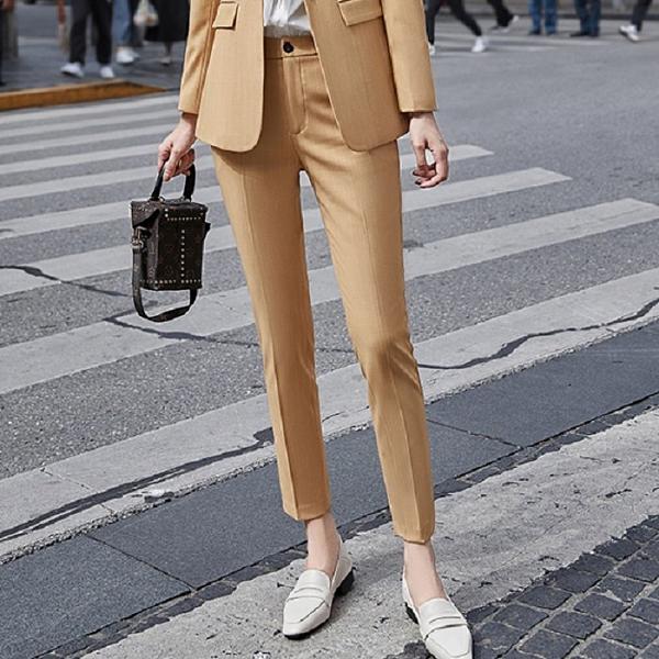 隱約直紋個性上班馬卡龍色西裝褲[20S152-PF]美之札