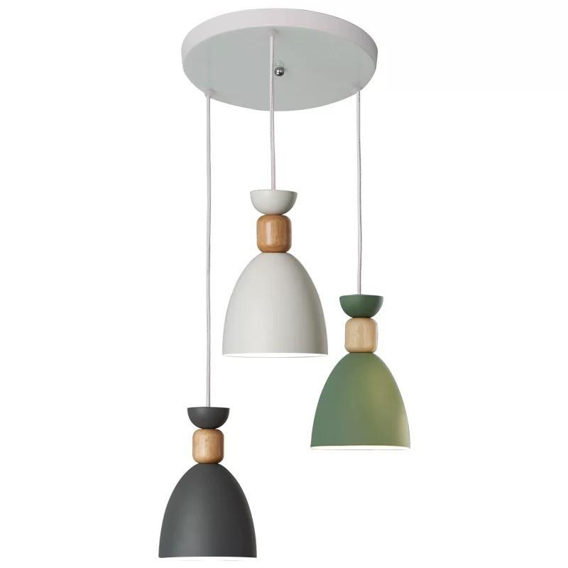 【PSSRISE 派瑟士】 LED馬拉龍創意 圓盤吊燈 三合一吊燈 木藝餐廳吊燈 三色變光 高度可調