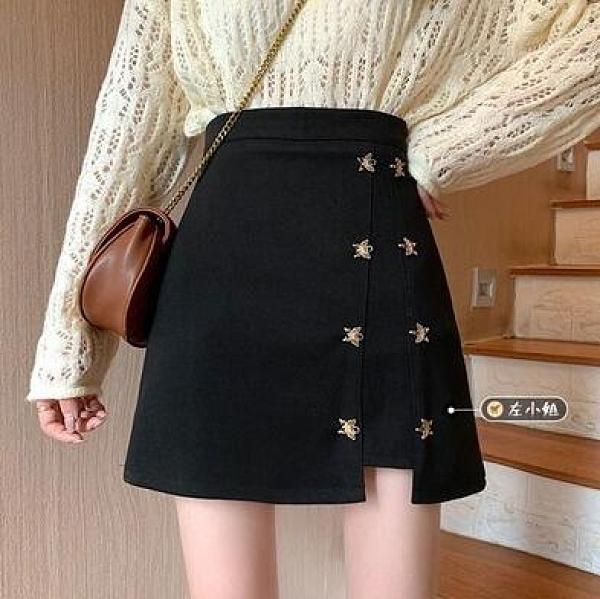 黑色毛呢半身裙女裝秋冬季新款高腰裙子百搭A字包臀短裙外穿