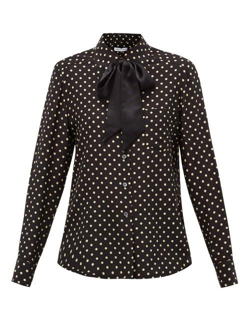 Bella Freud - Minnelli Pussy-bow Polka-dot Silk Blouse - Womens - Black