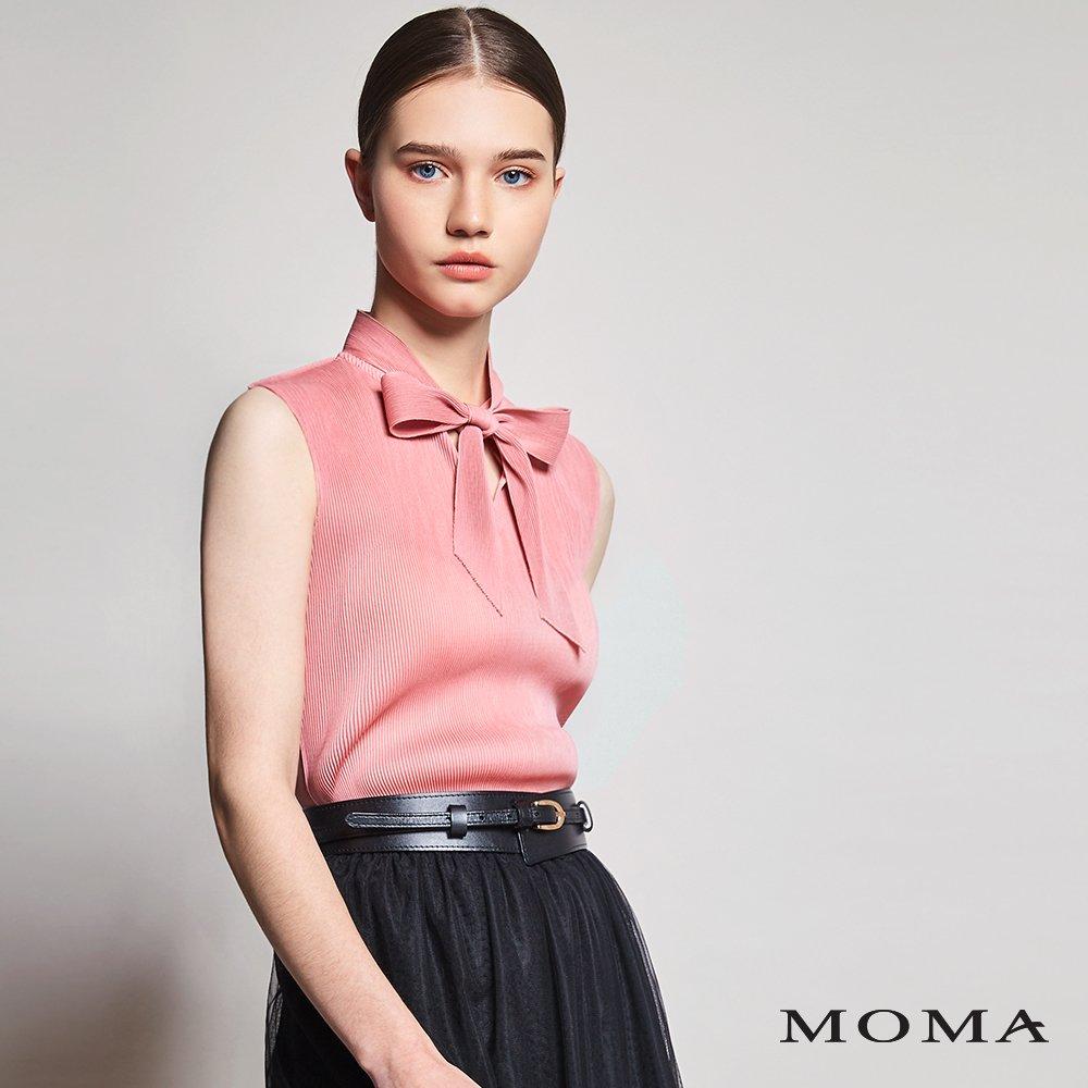 MOMA(01G024)壓褶領結無袖上衣